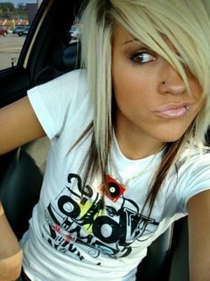 a typical Emo hairstyle. girls emo hair emo hair medium length