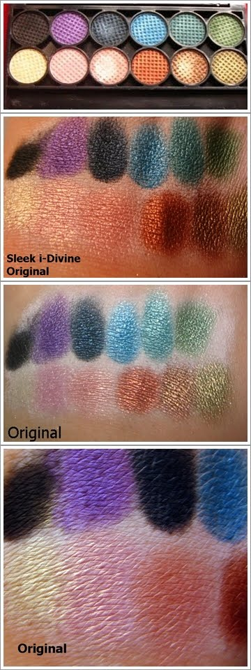 Sleek original palette swatches and product pictures