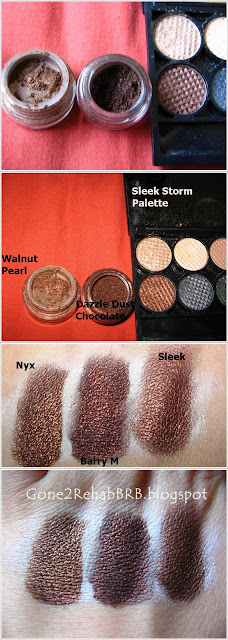 Dupes for Barry M dazzle Dust 53 Chocolate are swatches for Nyx Pearl Mania Walnut Pearl and Sleek i-Divine Storm palette
