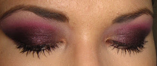 Sweetscent Midnight Burgundy Mineral Eyeshadow  Barry M Dazzle Dust in Cherry Red  the crease but layered over the blended-out Midnight Burgundy width=