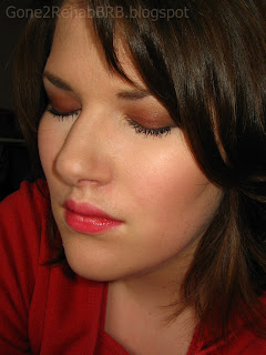 A red eyeshadow smokey eyes, foundation using Lily Lolo minerals Translucent silk and Porcelain