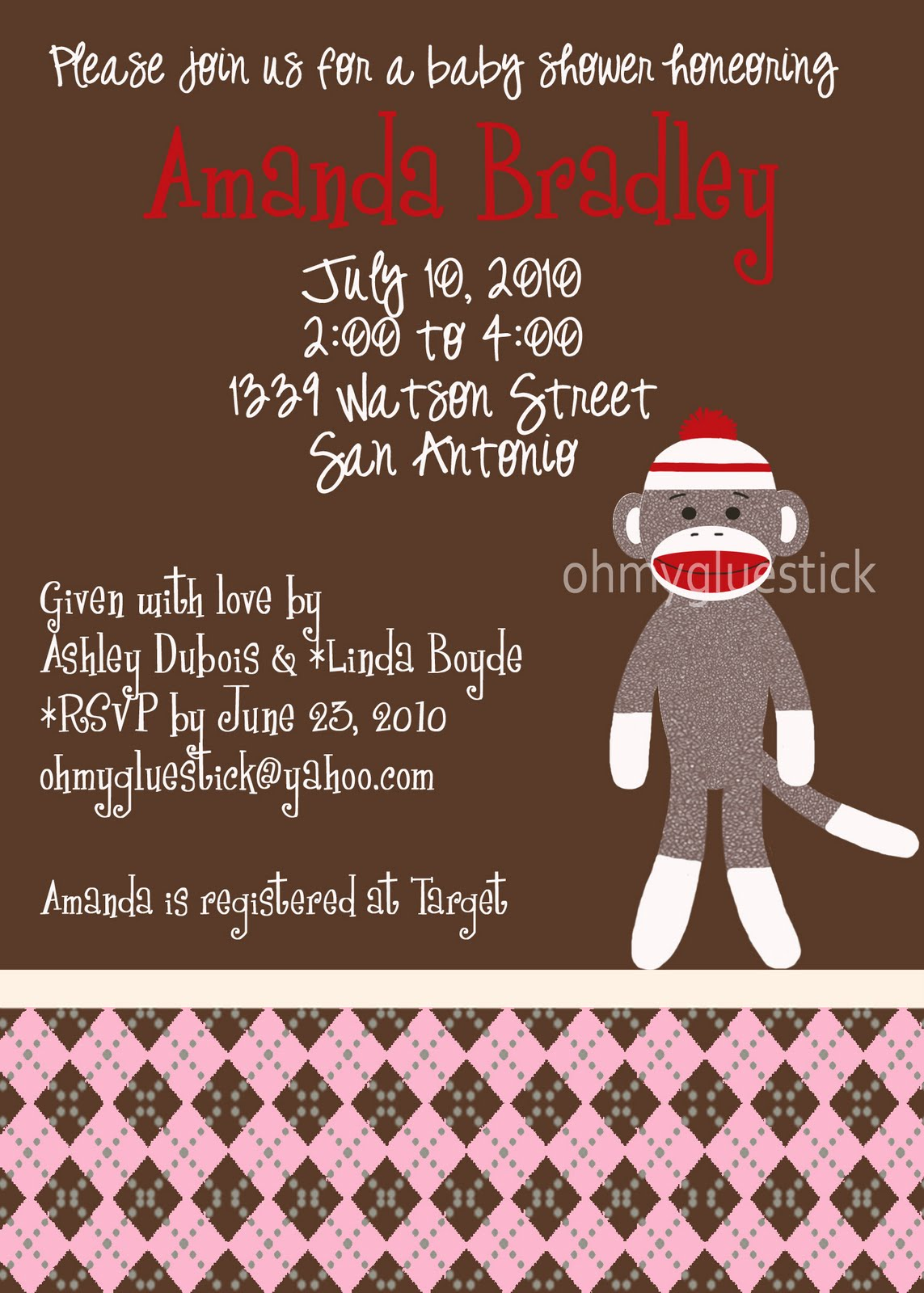 party shop by omg a sock monkey shower invitation for any sweet baby