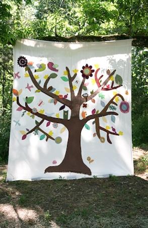 DIY fabric tree backdrop AMAZING