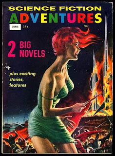 A woman with flowing red hair and a ripped green dress that barely covers hair, holds a knife, watching rocket ships burn, an angry look on her face