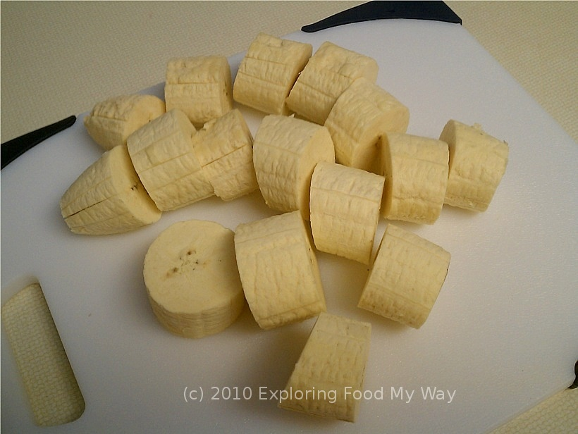 how to cut plantains diagonally