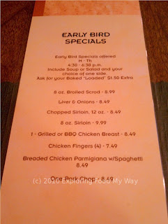 Arnie's Steak House Early Bird Menu