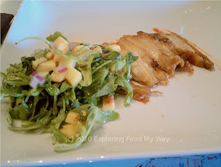Pork Belly with Arugula Salad and Kimchee