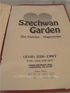 Szechwan Garden's Zen Menu Page 1