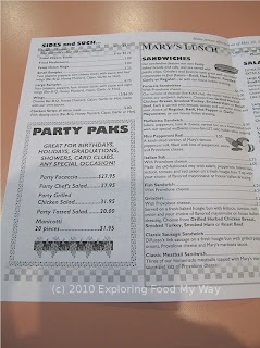 Mary's Pizza Shop Menu Page 2