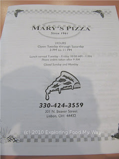 Mary's Pizza Shop Menu Page 1