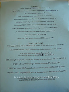 Cafe Bricco's Lunch Menu Back