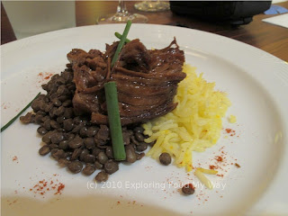 Braised Goat over Saffron Rice and French Lentils