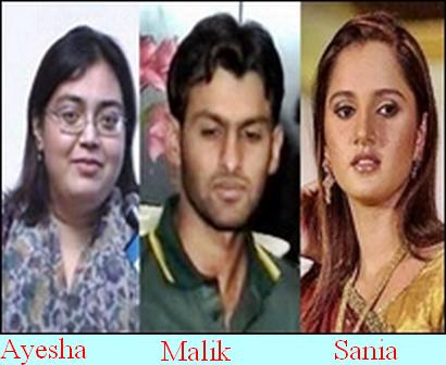 shoaib malik and ayesha siddiqui  Shoaib Malik, Sania Mirza