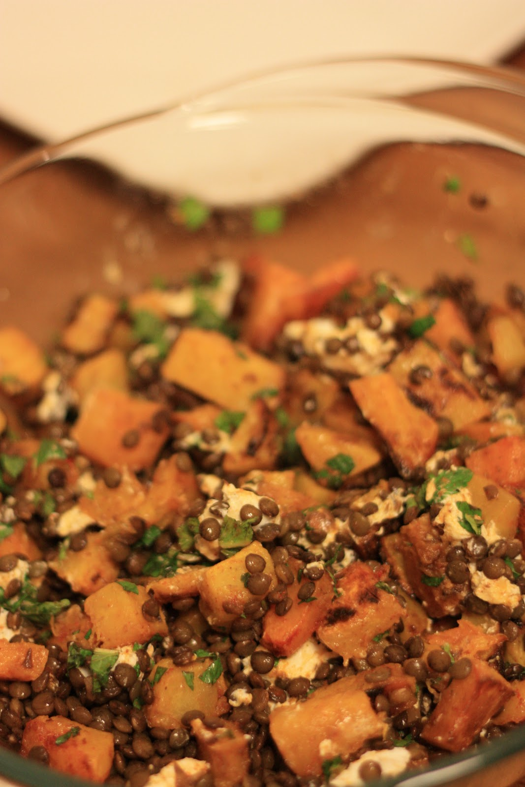 Crazy Radishes: Spiced Butternut Squash, Lentil and Feta Salad