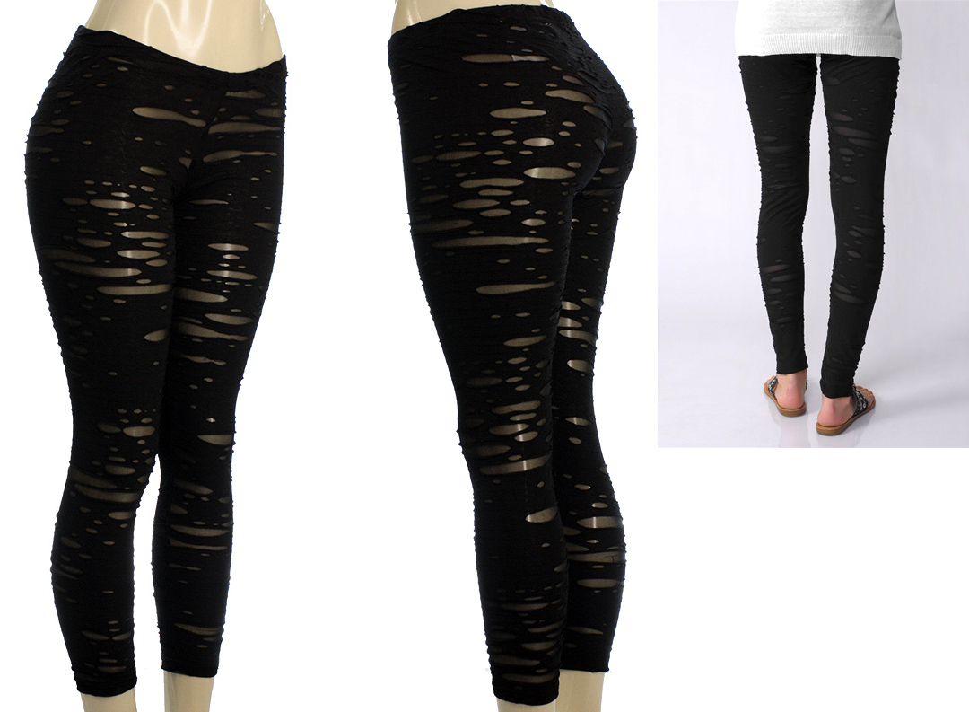 The Hip Thrifter New Black Distressed Capris and Leggings!