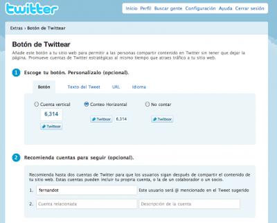 Botón oficial de Twitter para wordPress