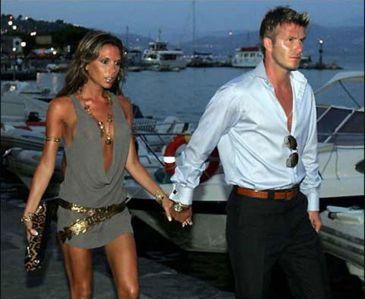Victoria embarazada David Beckham feliz