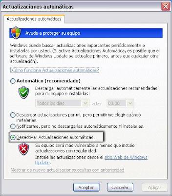 windows: desactivar las actualizaciones automáticas