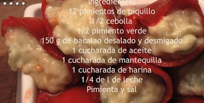 Recetas Comida Pimientos rellenos de Bacalao