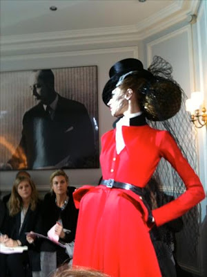 christian dior red haute couture suit