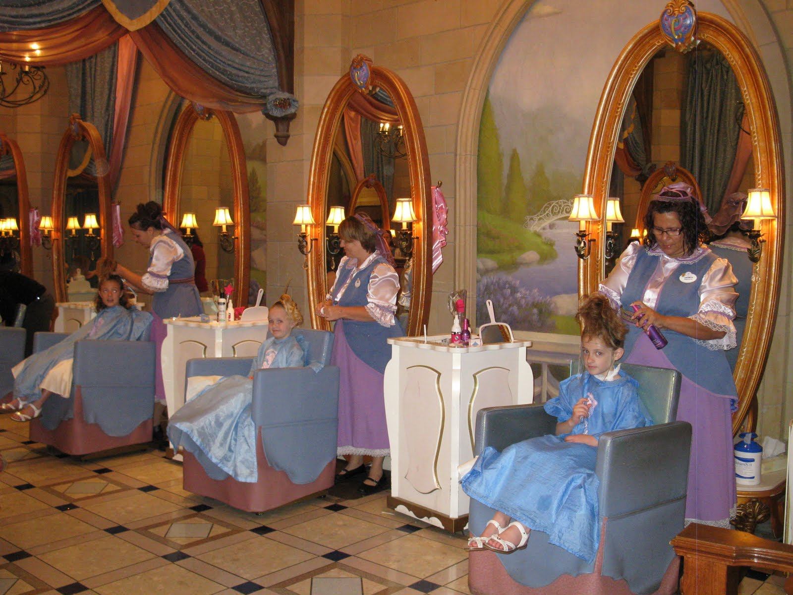 inside the magic kingdom Cinderella castle at the magic kingdom has been temporarily re-decorated on a few occasions inside the upper levels of cinderella castle, there is a suite that was intended to be an apartment for walt disney and his family when they were in florida.