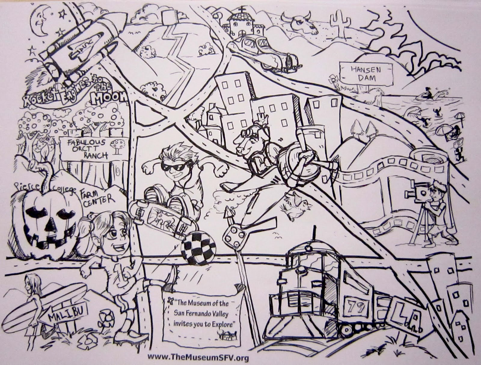 the museum of the san fernando valley valley coloring map for kids