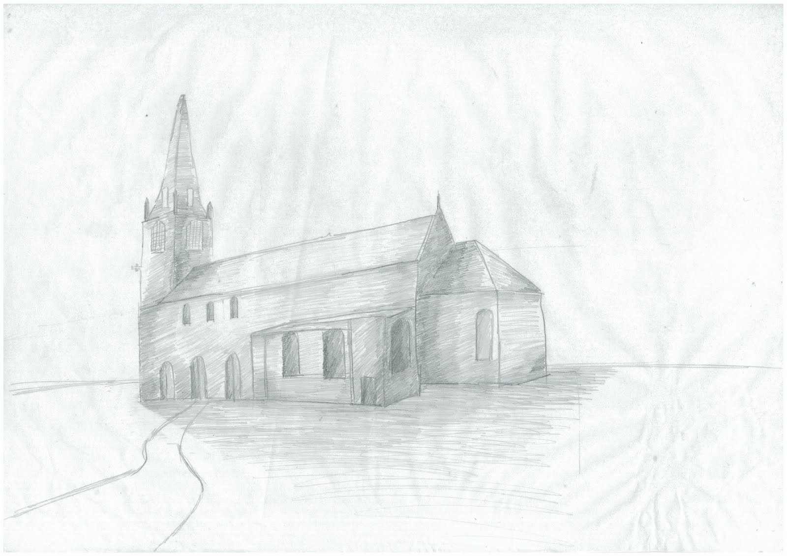 Church Perspective Drawing Church 2 Point Perspective