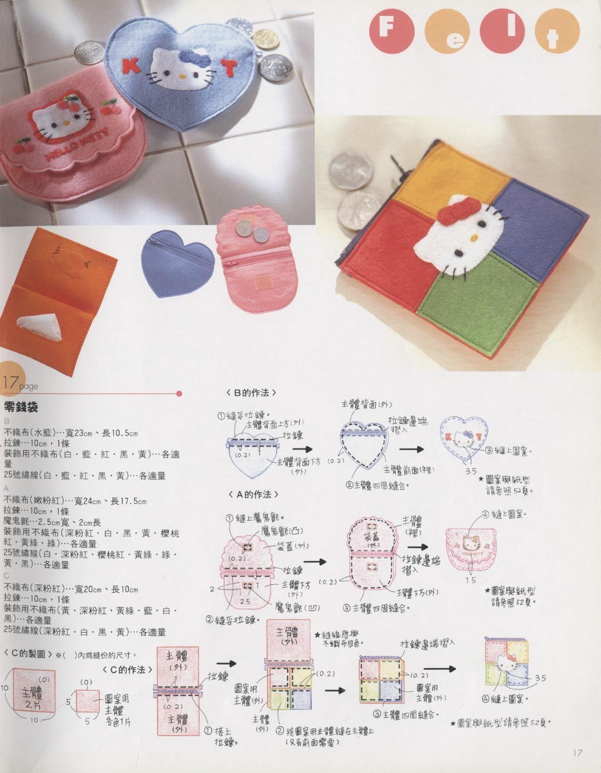 SIMPLE Hello Kitty Flanel Purse Pattern