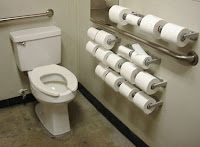 Toilet with multiple toilet rolls