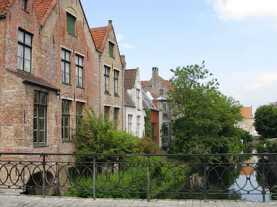 Canalside houses viewed from a bridge