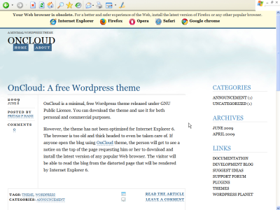 OnCloud in Internet Explorer 6
