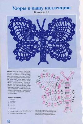 gráficos de borboletas em crochê