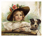 Sweet Little Girl Fishing w Her Doggy Vintage Print
