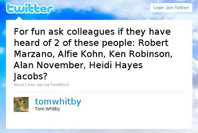 For fun ask colleagues if they have heard of 2 of these people: Robert Marzano, Alfie Kohn, Ken Robinson, Alan November, Heidi Hayes Jacobs?