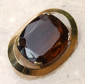Chunky Amber glass vintage brooch