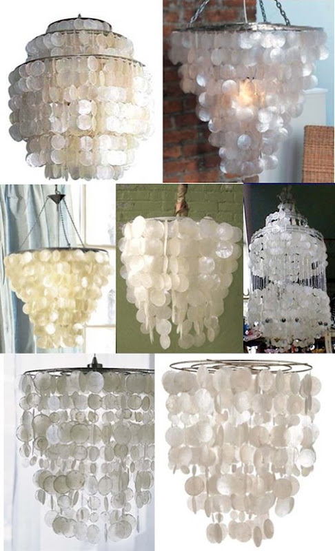 Low to High Capiz Shell Chandeliers