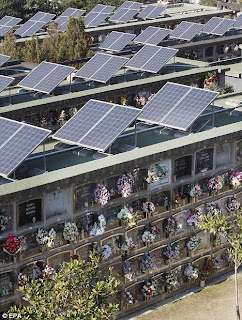 Solar panels on graves in a Spanish cemetary
