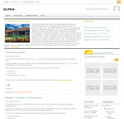 Alpha blogger template