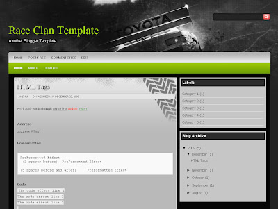 Race Clan Blogger Template