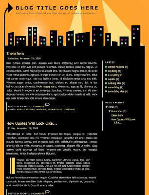 City sleeps 2 column blogger template