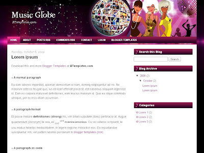Music Globe Blogger Template