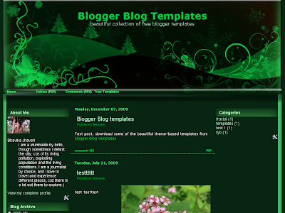 Green Christmas Blogger Theme
