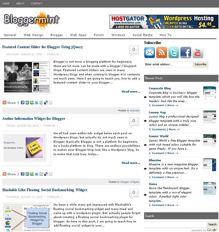 Magazine Style Bloggermint Blogger Template