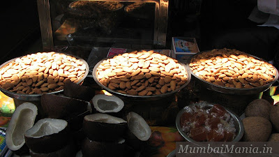 almonds and dried coconut for sale at crawford market