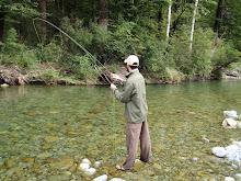 Sean playing a fish