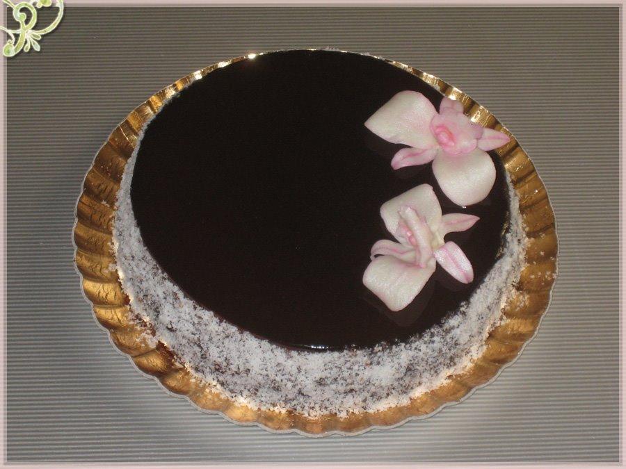 Bloggoloso torta specchio di orchidee con glassa al cioccolato lucida - Glassa a specchio knam ...