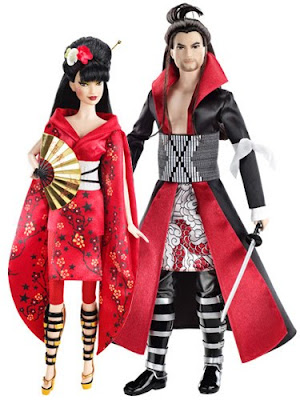 barbie and ken in 'japanese style' costumes, looking mostly space age
