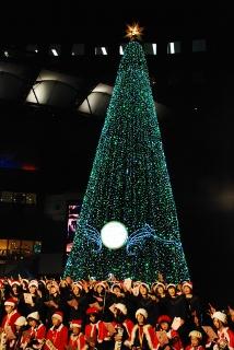 クリスマスツリーをバックに合唱する写真