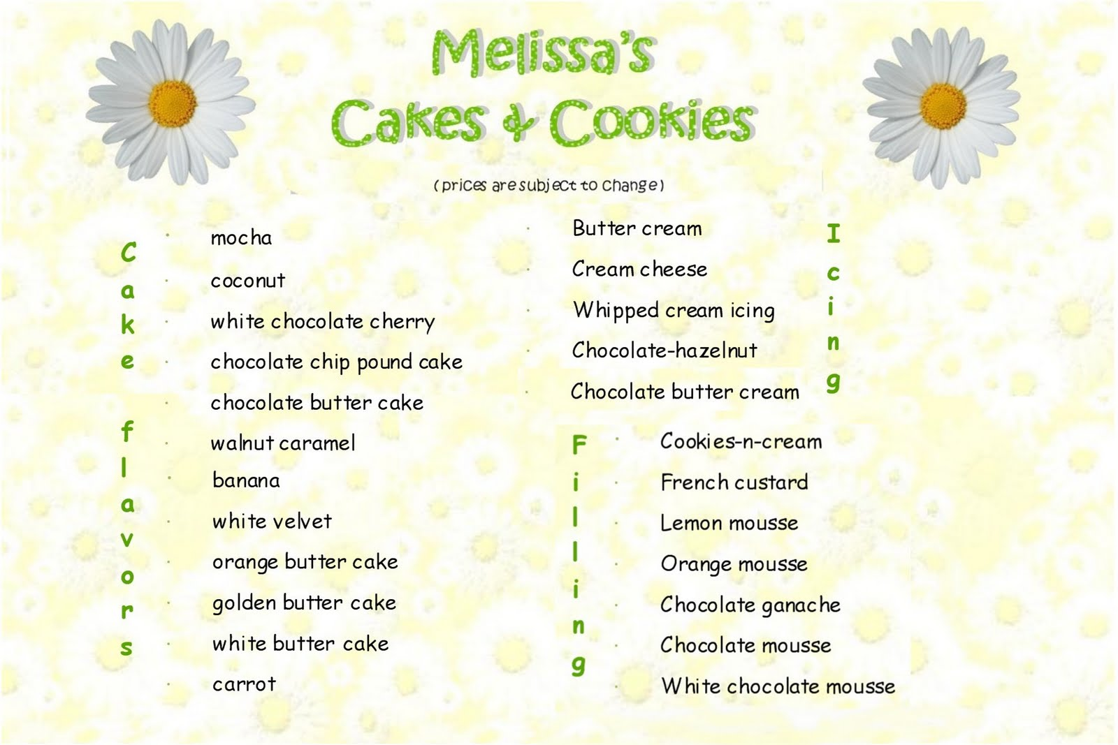 Melissa\'s Cakes & Cookies: MENU and PRICES