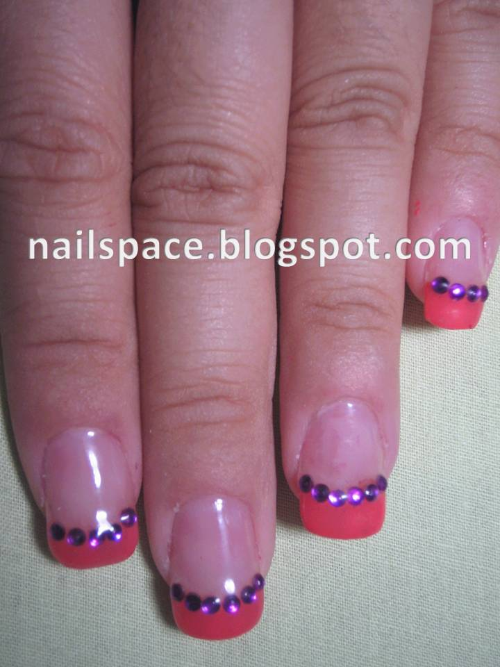 Nailspace: Hot Pink French Tip with Rhinestones